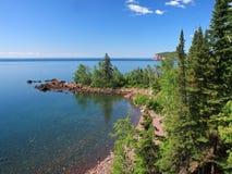 Árvores no superior de lago fotografia de stock
