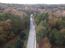 Árvores no tempo do outono com estrada imagem de stock