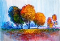 Árvores, pintura a óleo, fundo artístico ilustração do vetor