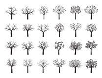 Árvores pretas ajustadas com folhas Ilustração do vetor Planta e jardim Imagens de Stock