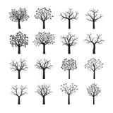 Árvores pretas com folhas Ilustração do vetor Imagens de Stock