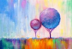 Árvores redondas, pintura ilustração stock