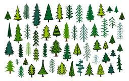 Árvores sempre-verdes da agulha do Natal do abeto do pinho das coníferas abstratas bonitos Imagens de Stock Royalty Free
