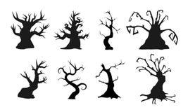 Árvores velhas assustadores com formas assustadores Ilustração do vetor Aperfeiçoe para composições assustadores ou do Dia das Br ilustração do vetor