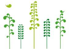 Árvores verdes com pássaros Imagens de Stock