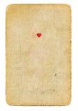 Ás antigo de cartão de jogo do fundo de papel dos corações isolado imagens de stock