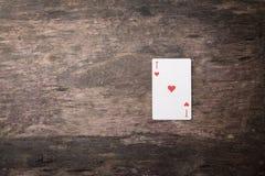 Ás de cartões de jogo de corações com copyspace Fotografia de Stock