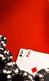 Ás do bolso no feltro do vermelho Foto de Stock