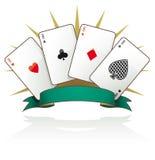 Ás do cartão de jogo com bandeira do texto Imagem de Stock