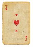 Ás do Grunge do cartão de jogo dos corações isolado no fundo branco Foto de Stock