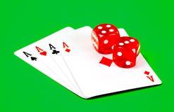 Ás e dados do póquer Fotos de Stock