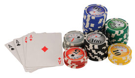Ás e microplaquetas do póquer imagens de stock