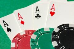Ás e microplaquetas do póquer Fotos de Stock