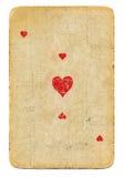 Ás velho de cartão de jogo do fundo de papel dos corações Foto de Stock Royalty Free