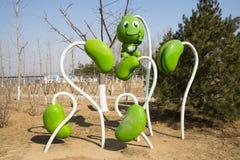 Ásia China, Pequim, carnaval agrícola, ervilha verde de ŒCartoon do ¼ exterior do ï da paisagem fotos de stock