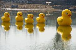 Ásia China, Pequim, carnaval agrícola, pato exterior do amarelo de ŒCartoon do ¼ do sceneï do ¼ Œ do landscapeï imagens de stock