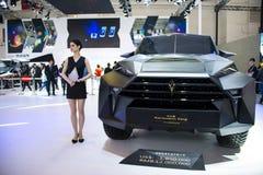 Ásia China, Pequim, exposição do automóvel do international 2016, salão de exposição interno, princípio global super de SUV, Calm Foto de Stock