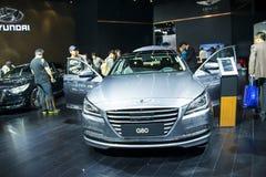 Ásia China, Pequim, exposição internacional do automóvel 2016, salão de exposição interno, ¼ ŒGenesis G80 de Hyundaiï fotos de stock