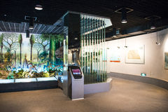 Ásia China, Pequim, museu geological, salão de exposição interno Fotografia de Stock Royalty Free