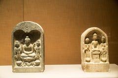 Ásia China, Pequim, o museu principal, salão de exposição interno, Buda de pedra Fotografia de Stock Royalty Free