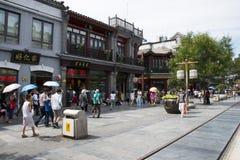 Ásia, China, Pequim, rua de Qianmen, rua comercial, rua da caminhada Fotografia de Stock