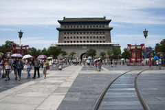 Ásia, China, Pequim, rua de Qianmen, rua comercial, rua da caminhada Imagens de Stock