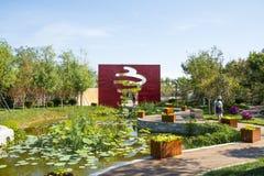 Ásia China, Wuqing, Tianjin, expo verde, cenário do parque Foto de Stock Royalty Free