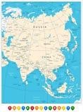 Ásia detalhou altamente o mapa e os ponteiros do mapa colorido Fotos de Stock