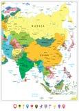 Ásia detalhou altamente o mapa político e ícones lisos Fotografia de Stock Royalty Free
