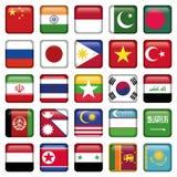Ásia embandeira ícones quadrados Foto de Stock