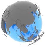 Ásia Oriental no globo Foto de Stock Royalty Free