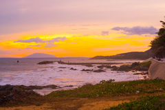 Ásia, país de Vietname, Phan Thiet, por do sol Fotografia de Stock