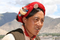 Ásia, Tibet, tibetano da mulher do retrato Fotos de Stock