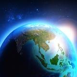 Ásia vista do espaço ilustração royalty free