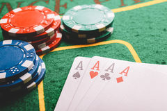Áss do pôquer quatro Imagens de Stock