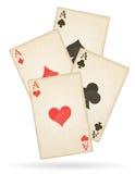 Áss dos cartões de jogo do vetor retro velho dos ternos diferentes Fotografia de Stock Royalty Free
