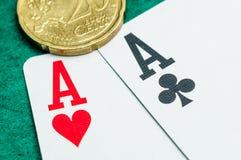 Áss e euro Imagem de Stock
