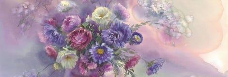 Ásteres violetas na ainda-vida da aquarela do vaso ilustração do vetor