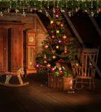 Ático con las decoraciones de la Navidad Fotografía de archivo libre de regalías
