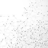 Átomo abstracto o rejilla molecular Arsenal digital complejo de la malla de nodos Punto y línea geométricos fondo Datos globales  ilustración del vector