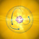 Átomo con el núcleo, la cáscara atómica y los electrones que están en órbita en un fondo amarillo fotos de archivo libres de regalías