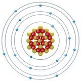 Átomo de Chlorum (isótopo) em um fundo branco Foto de Stock