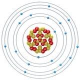 Átomo de Kalium (isótopo inestable) en un fondo blanco Foto de archivo libre de regalías