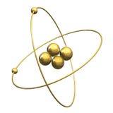 átomo del helio 3d en oro Fotos de archivo libres de regalías