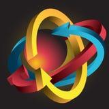 Átomo formado por Arrows Imagen de archivo libre de regalías