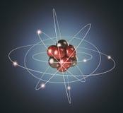 Átomo. Partícula elemental. fondo 3D ilustración del vector