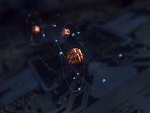 Átomos sobre el circuito stock de ilustración