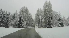 Áustria Conduzindo o tiro, ponto de vista do motorista Metragem que conduz na estrada durante uma queda de neve filme