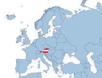Áustria no mapa de Europa Fotografia de Stock