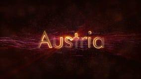 Áustria a Osterreich - animação dando laços brilhante do texto do nome de país